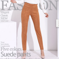Suede pants in 5 solid colors stretch fit