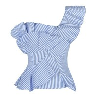 Honey Couture MARNIE Blue Striped One Shoulder Frill Summer Top