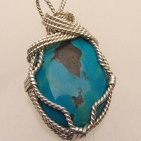 Sterling Silver Wire Wrap Tree Turquoise Pendant