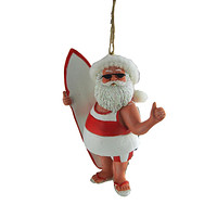Santa At the Beach Ornament With Hanging Twine, 3-1/2-Inch