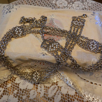 "Vintage Silvertone Multi Chain Link Fashion Belt Oval Faux Pearl Embellishments 32"" With Extender"