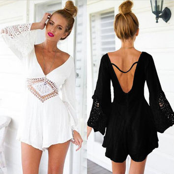 Sexy lace crochet hollow out playsuit jumpsuit women