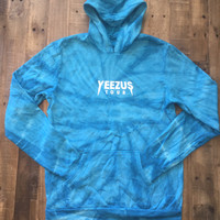 Yeezus Tour Tie Dye Teal Hoodie / Yeezus Tour Merch
