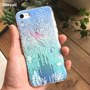 Kerzzil 3D Relief Princess Mermaid Flower Case For iPhone 7 SE 5 5s 6 6SPlus Soft Silicone Phone Cover Back For iPhone X 8 7 6S