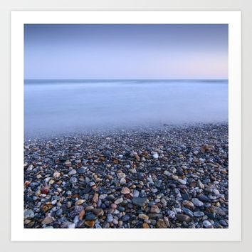 """Multicolored beach"". At sunset Art Print by Guido Montañés"