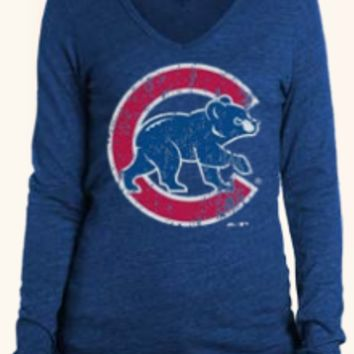 Womens Chicago Cubs Oversied Walking Bear Logo Long Sleeve Triblend Hoodie Tee By Majestic Threads