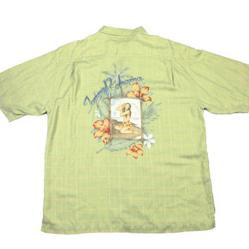 Tommy Bahama Silk Hawaiian Shirt Vintage Green Plaid Hula Girl Embroidered Mens Size Large