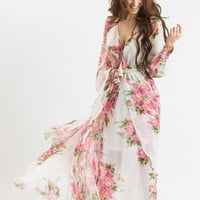 Kathleen White Floral Maxi Dress