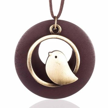 Bird Wooden Bead Pendant Vintage Long Necklace