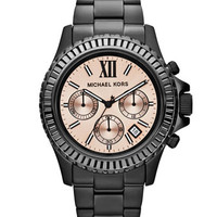 Michael Kors Mid-Size Black Stainless Steel Everest Chronograph Watch