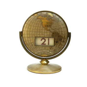 Brass Perpetual Calendar. Mid Century Desk Accessory. Fathers Day Gift.