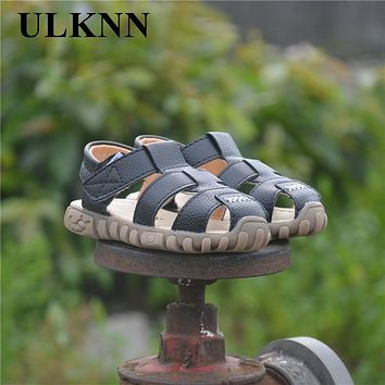 ULKNN Hot SALE Baby Sandals 2018 Summer Hot Sale Captain Soft Leather Boys Kids Fashion Beach Sandals Size21-30 Enfants White