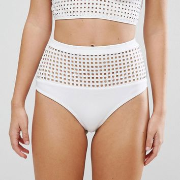 ASOS Square Cut Out High Waist Bikini Bottom at asos.com