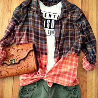 Flannel Plaid Button Up Shirt Grunge Bleach Dye Dipped Oversized 90s Vintage vibe Lumberjack Slouchy Upcyled Mulit Color Mens Womans XL L M