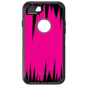 DistinctInk™ OtterBox Defender Series Case for Apple iPhone / Samsung Galaxy / Google Pixel - Neon Pink Black Spikes