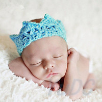 New Arrival Baby Crochet Knit Prince Crown Headband Hats Hair Accessories = 1958140548
