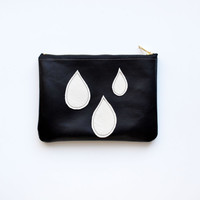Rain Drop Wallet Tear Drop Pouch Rainy Day Black and White Leather Zip Wallet
