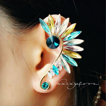 Leaf Ear Cuff Set - Crystal ear cuf f- Elf ear cuff - Yin Yang - Piercing ear cuff -Colorful Elven earring