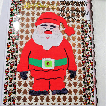 Christmas Santa Card - Handmade Cards - Happy Christmas Cards - Seasons Greeting cards - Made in Australia - unique cards - Hand made