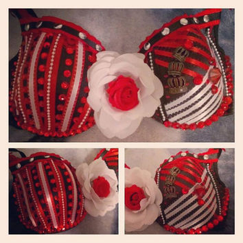 FREE SHIPPING: Queen of Hearts Rave Bra/ Custom Bras