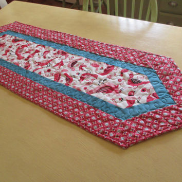 Folk Art Table Runner , Red And White Table Runner , Quilted Table Runner