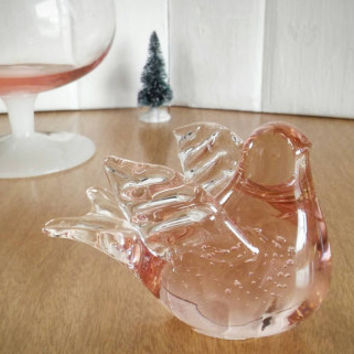 Vintage Enesco 1985 Pink Glass Dove Paperweight, Controlled Bubble Glass Dove Paperweight Vintage Enesco