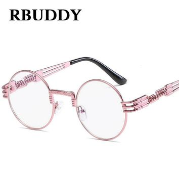 21292d4032 RBUDDY steampunk sunglasses Pink Women Metal Frame Retro Round C