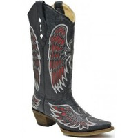 Corral Cowboy  Boots Angel Wings Cross Inlay Red Leather Pointed Toe Ladies Cowboy  Boot