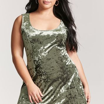 Plus Size Crushed Velvet Mini Dress