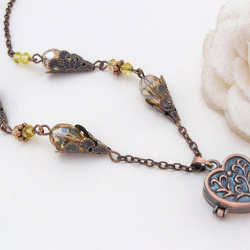 Belle - fairytale copper necklace with heart locket, golden yellow beads and filigree cones