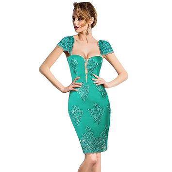 Green Embroidered Cap Sleeves Bodycon Party Dress