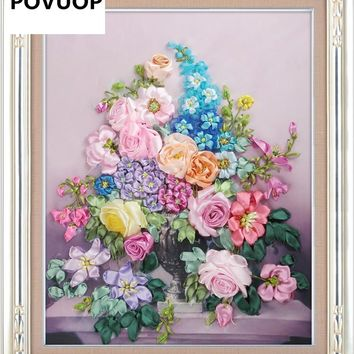 ribbon embroidery 60X50cm fashion flower 3d print cross stitch paintings