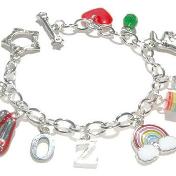Wizard of Oz Bracelet - Ruby Slippers Charm - Wizard of Oz Bracelet - Movie Classic Jewelry - Rainbow Pendant - Kids Jewelry - OZ Jewellery