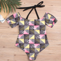 Summer New fashion Colorful Print Beach Shorts Sleeve Straps Swimsuit Ono Piece Bikini