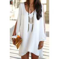 Elegant V-Neck Long Sleeve Loose-Fitting White Chiffon Dress For Women | Kitty's Clawset