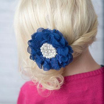 Royal blue lace flower clip