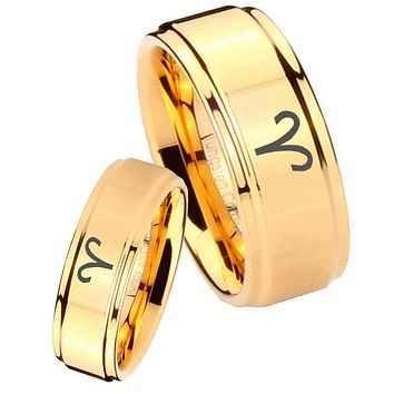 His Her Glossy Step Edges Aries Zodiac 14K Gold IP Tungsten Wedding Rings Set