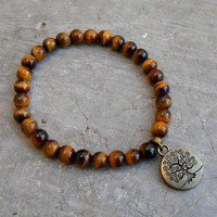 prosperity and wisdom- genuine tiger's eye gemstone and tree of life wrist mala bracelet
