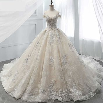 Beaded Chapel Train Vintage Bridal Gown Sexy Boat Neck Lace Ball Gown Wedding Dress