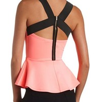 CAGED ZIP-BACK PEPLUM TOP