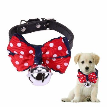 Adjustable Receiver Collar Cats Puppies Bowtie Collar with Bell Necktie Christmas Pet Costume PU Collar for Small Dogs