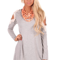 Grey Tunic Top with Crochet Open Shoulder Detail