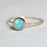 Solid 14k Gold Natural Fiery AAA Welo Opal Orbital Ring - Simple Beautiful 14K Gold Stack Ring - Engagement Ring