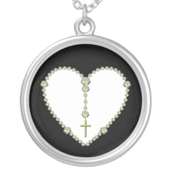White rose Rosary Personalized Necklace