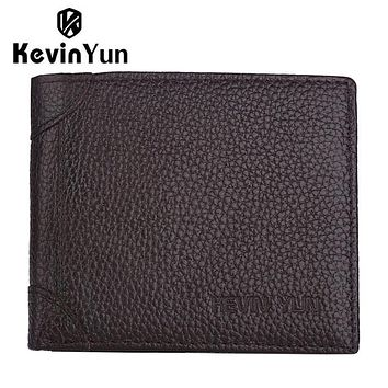 Genuine leather men wallets slim bifold ID credit card holder purse pocket wallet