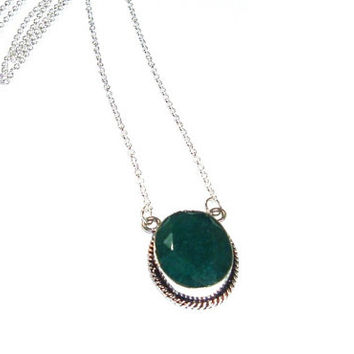 Emerald Pendant ,  Sterling Silver Genuine Faceted Emerald Pendant Necklace  , Faceted Natural Oval Emeral