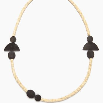 Black Horn Geometric Necklace - White Coconut