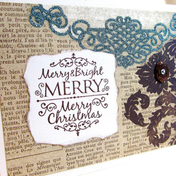 Merry Christmas Card - Elegant Christmas Card - Vintage Style - Brown and Turquoise - Hand Stamped - Blank Card - Holiday Card -