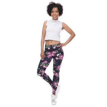 Retro Purple Rose Leggings