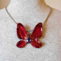 Dark Red Gold Fantasy Fairy Wing Pendant with Swarovski Crystal
